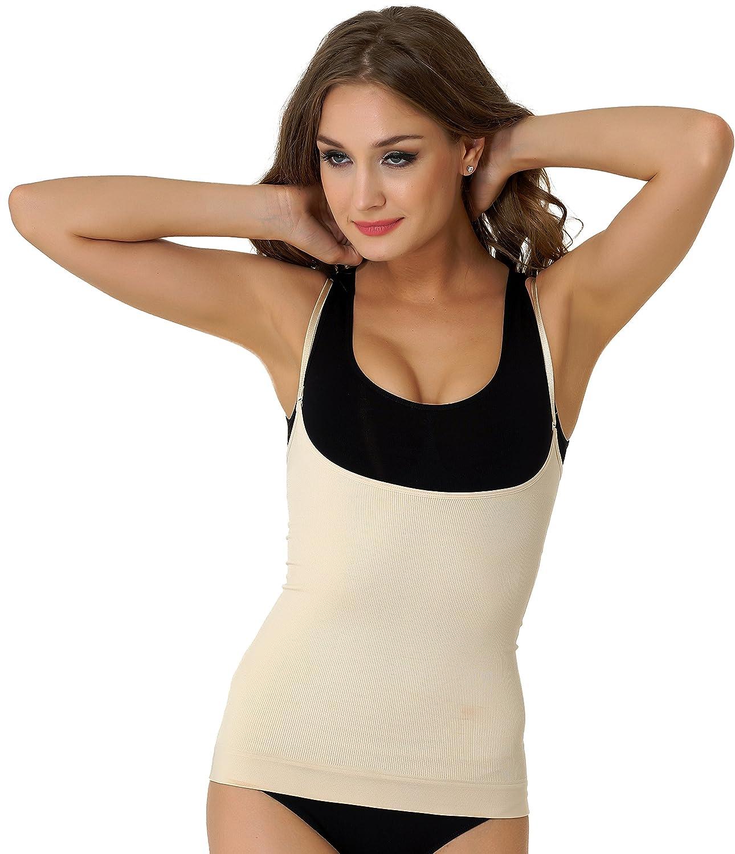 UnsichtBra Figurformendes Damen Unterhemd, freies Dekolleté, mit dünnen Trägern (sw_6900)