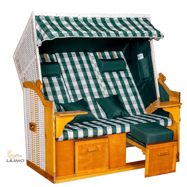 Strandkorb Ostsee BCG XXL weiß, Bezug grün-weiß kariert, fertig montiert, LILIMO ® günstig online kaufen