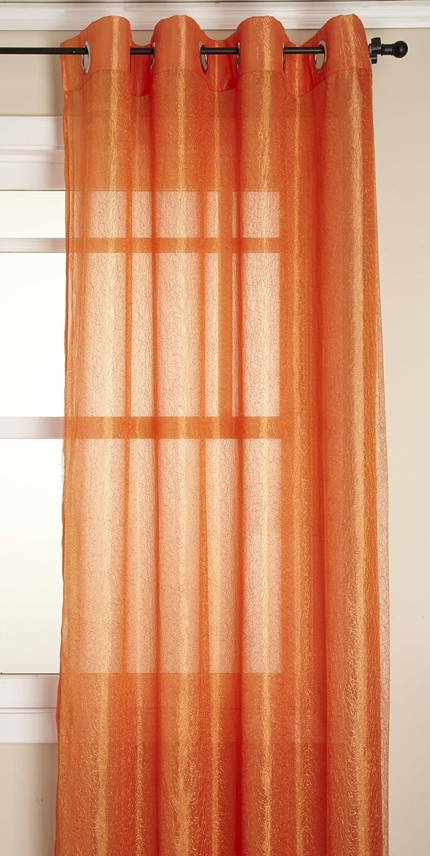 Burnt Orange Sheer Curtain Panels