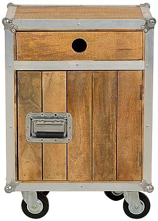 """Sit-Möbel 2207-01 cómoda """"los plomos"""", mango de madera sin tratar, de color aluminio formación, 1 puerta 1 cajón con ruedas, 50 x 35 x 72 cm"""