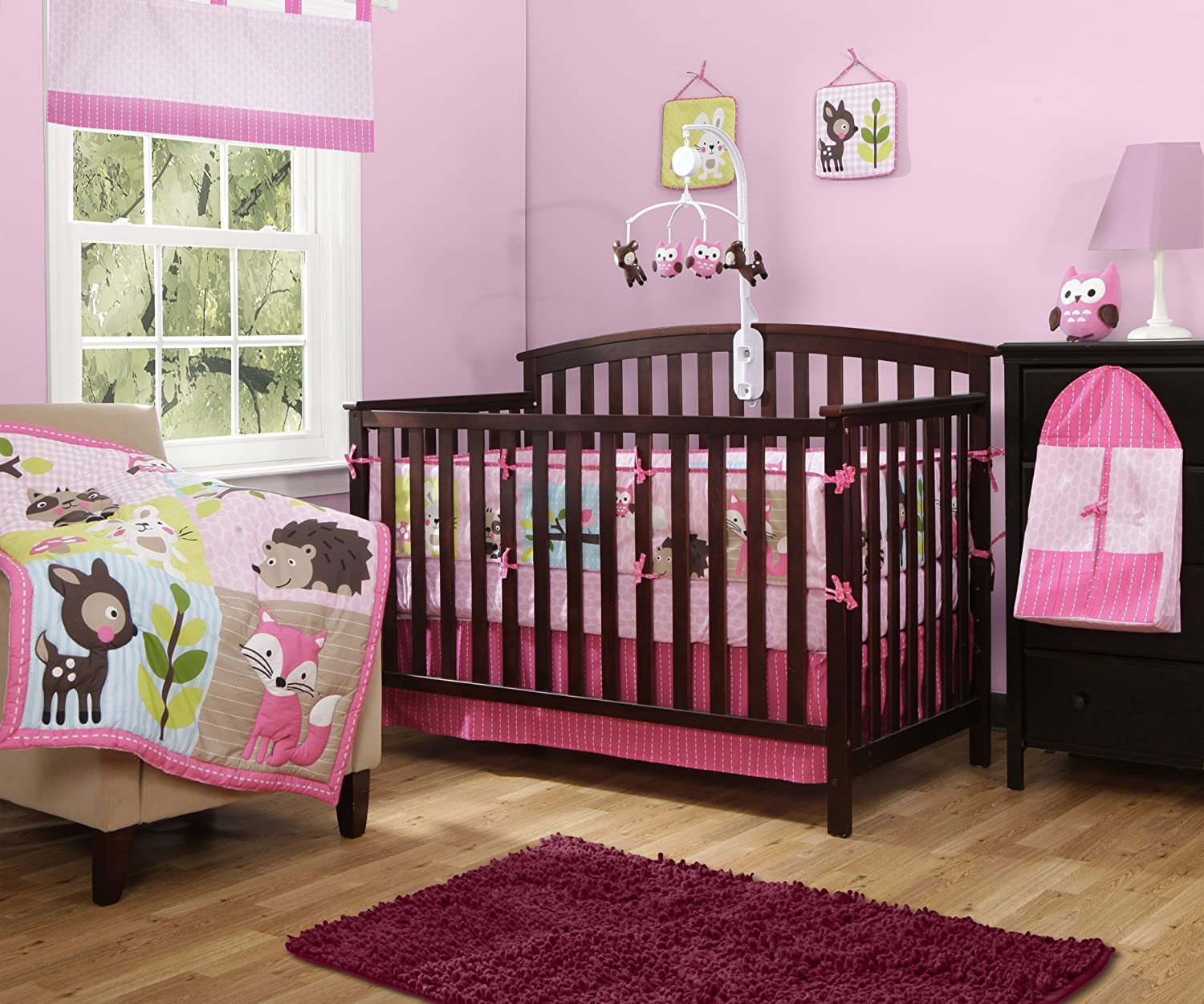 Baby Boom Woodland Girls Crib Bedding
