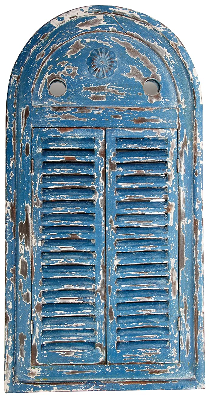 Esschert Design WD13 Mirror Louvre Distressed, Blue Finish 0