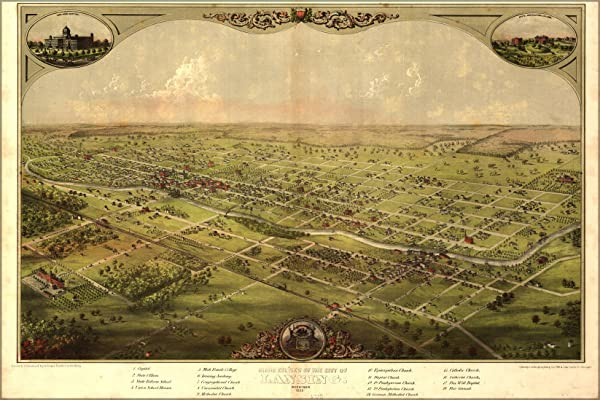 Birdseye View Map Of Lansing, Michigan 1866