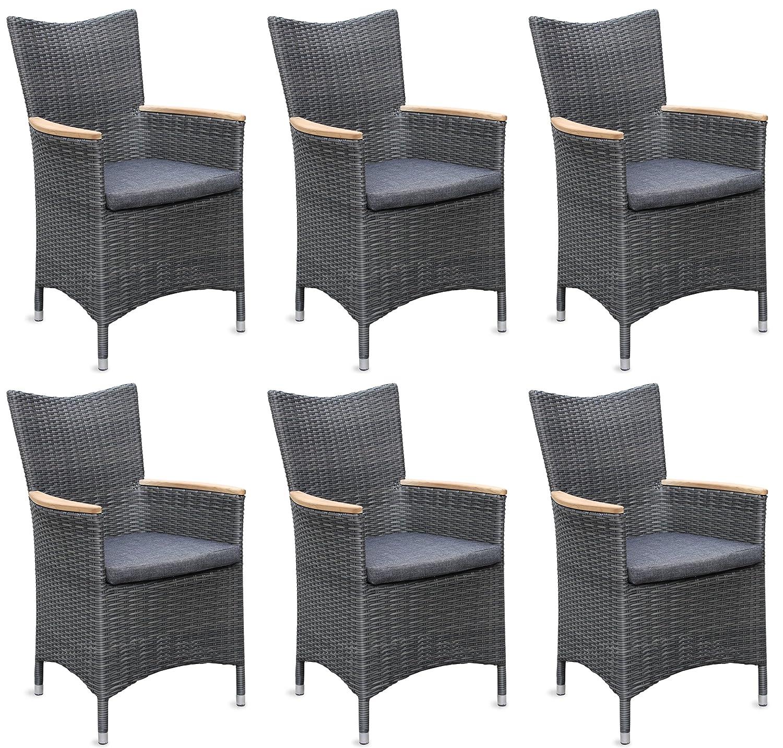 6x Hochwertiger Polyrattan Gartenstuhl mit Teakarmlehnen Teak Sessel Rattan Stuhl Gartenstühle Gartenmöbel kaufen