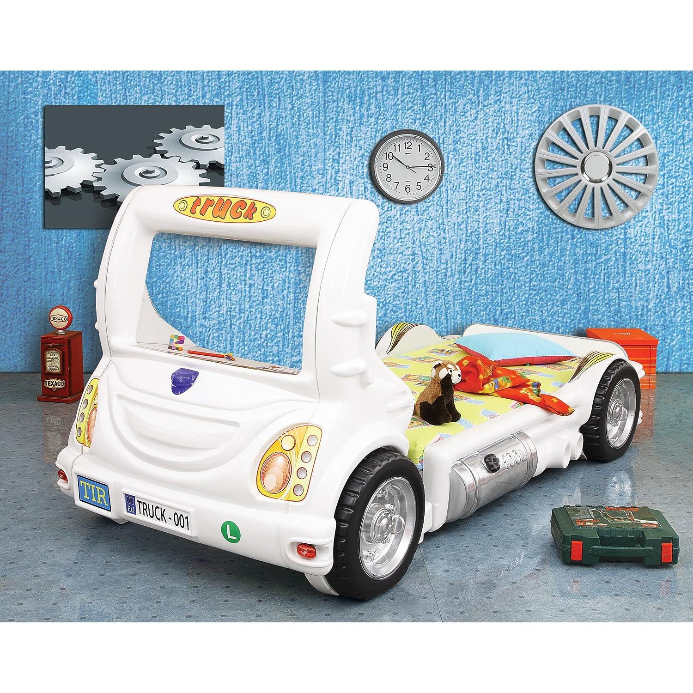 Kinder Bett Kinderbett mit Matratze Laster Truck LKW Auto (weiß)