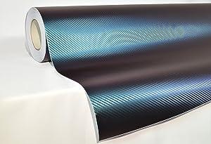 1//2ft x 5ft VViViD XPO Purple to Blue Chameleon Carbon Fiber Vinyl Wrap Roll w//Air-Release Technology
