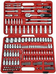 Famex Werkzeug 52521 Steckschlüsselsatz mit Gelenk und Feinzahnknarre, 12.5 mm (1/2Zoll) und 6.3 mm (1/4Zoll)Antrieb, 432 mm, 174teilig  BaumarktBewertungen