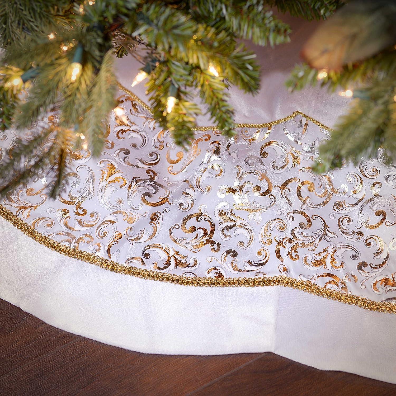White Velvet And Metallic Print Tree Skirt
