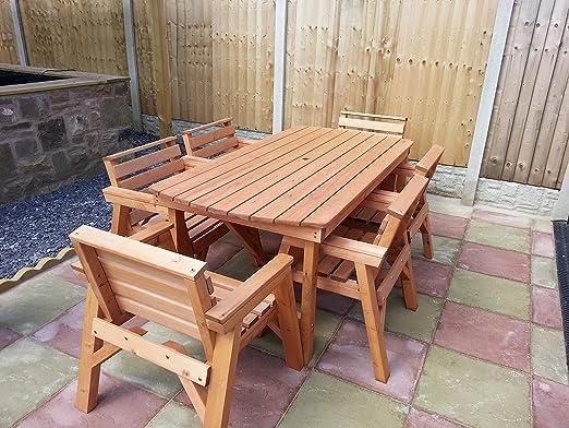Mobilier de jardin en bois massif. 6'Table et 6chaises