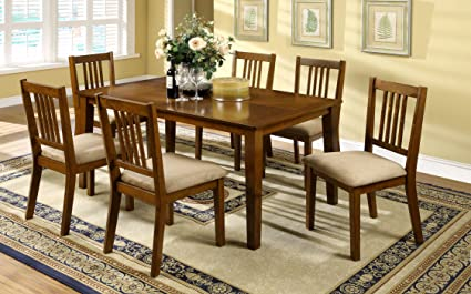 Furniture of America Erin 7-Piece Dining Table Set, Dark Oak Finish