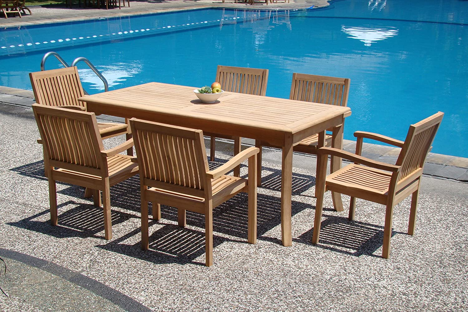 Grade-A Teak Wood Luxurious Dining Set Collections: 7 pc - 71 Rectangle Table And 6 Leveb Stacking Arm Chairs ролл унаги маки xl
