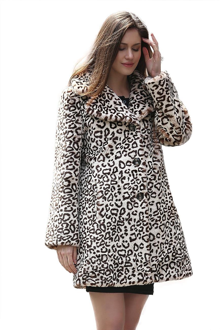 Adelaqueen Women's Elegant Vintage Leopard Print Lapel Faux Fur Coat Mid-Length 0