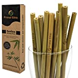 Reusable Bamboo Drinking Straws by Primal Ethic - Plastic Straw Alternative - Organic, Biodegradable - With 2 Cleaning Brushes & Storage Bag - 20 Pack or 12 Pack in 8 or 9.5 Inch Length (Color: Natural, Tamaño: 8 inches)