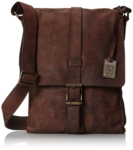 FRYE Men's Logan Small Pressed Nubuck Messenger Bag, Dark Brown, One Size