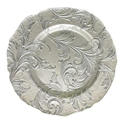 13-inch Silver Vanessa Charger Plate by ChargeIt! By Jay - Fabulous silver design glass charger plates add another layer of elegance to your formal tablesetting! | http://christmastablescapedecor.com/elegant-silver-table-setting/