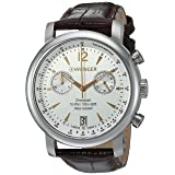 Wenger Men's 'Urban Classic Chrono' Swiss Quartz Steel-Two-Tone and Leather Casual Watch, Color:Brown (Model: 01.1043.110)