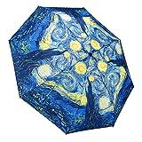 Galleria Van Gogh Starry Night Auto-Open/Close Large Portable Rain Fold Umbrella (Color: Blue, Tamaño: Small)