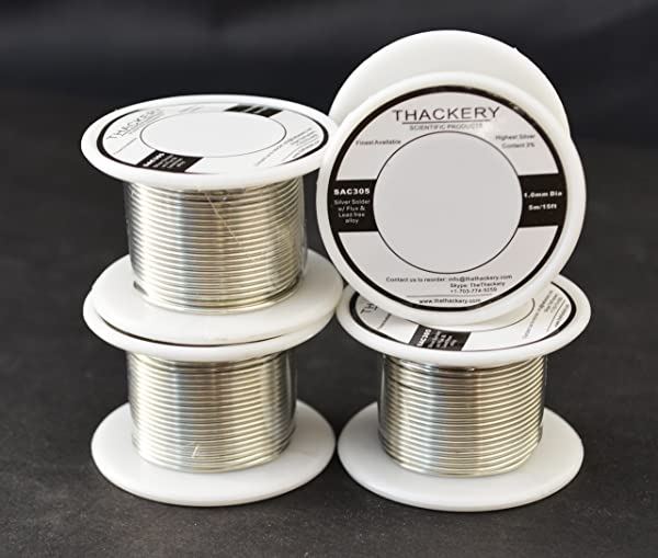 Thackery Silver Flux Core Solder Wire - SAC305 - available in 1mm and .8mm thickness - sold by the foot/meter (5m/15ft x 1mm Thickness) (Tamaño: 5m/15ft x 1mm Thickness)