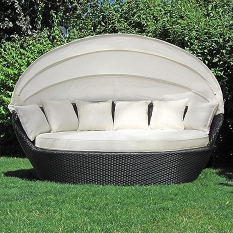 Salon de jardin avec toit JOM 127140 noir et neuf, Dimensions: 195 x 115 x 140 cm, barres en acier, avec bourrelet et 4x coussins beige