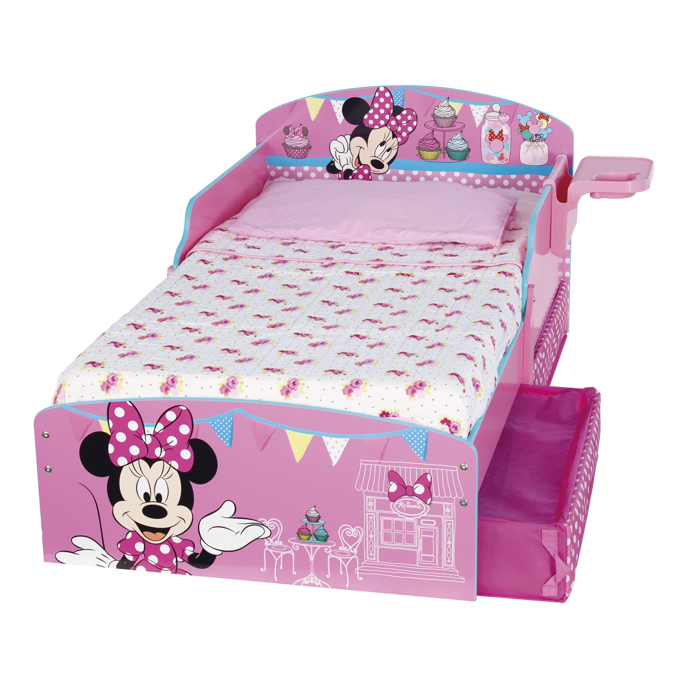 Disney minnie mouse toddler bed underbed storage and shelf disney ebay - Mini mouse bedroom ...