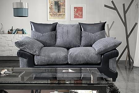 Grande Nuovo Dino Jumbo tela y piel sintética Panel sofá de 3plazas, negro y gris, 2 Seater