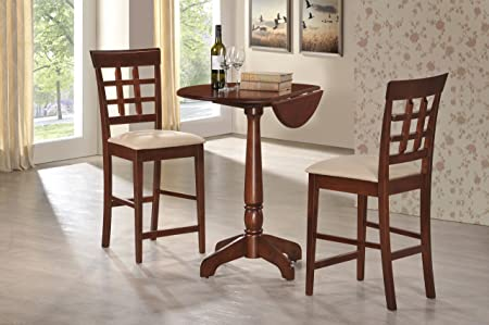 "3 Piece 36"" Counter Height Pedestal Table. 30"" Inch Diameter Top Drop Leaf Table Solid Wood Top Cherry Finish"
