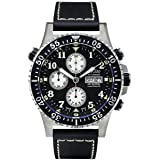 Xezo Men's Air Commando Diver Pilot Swiss Automatic Valjoux 7750 Luxury Chronograph Waterproof Wrist Watch with Leather Band. 2 Time Zones (Color: Silver, Tamaño: Case dimensions: 45 mm wide (not including crown) x 54 mm long x 16 mm thick. Weight: 134 gram/4.7 )