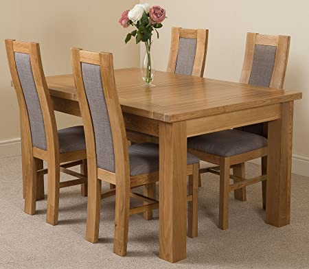 Seattle Extending Kitchen Solid Oak Dining Table & 4 Solid Oak Fabric Chairs 100% Solid Oak | 150-180-210cm Extending | Fast & Free!