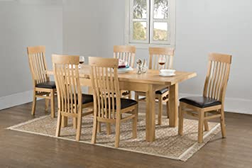 VALENCIA SOLID CHUNKY OAK LARGE BUTTERFLY EXTENDING DINING TABLE WITH 6 CHAIRS