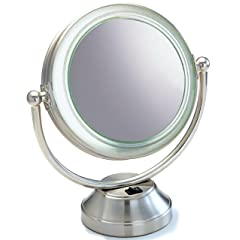 """Fluorescent CooliteTM Lighted 8 1/2"""" Double Sided Swivel Vanity Cosmetic Mirror 8x plus 1x in Satin Nickel"""
