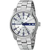 Diesel Men's 'Armbar' Quartz Stainless Steel Casual Watch, Color:Silver-Toned (Model: DZ1852) (Color: Silver, Tamaño: One Size)