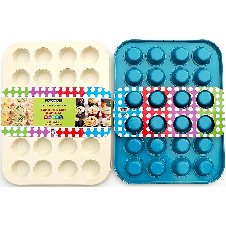 CasaWare Ceramic Coated Non-Stick Mini Muffin Pan 24 Cups