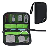 Honsky Zipper Mesh Shockproof USB Flash Drive Organizer, Cable Management Bag, Travel Carrying Case Holder for Hard Drive, Thumb Drive, Pen Drive, Gadget Cord Accessories Packing Space Storage, Black (Color: Black(19 x 11.5cm))