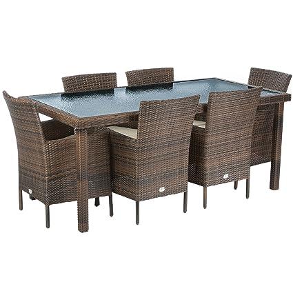 Ultranatura 200100001053 Palma Ensemble de Table + Canapé + 2 Fauteuils avec Coussins en Poly Rotin Marron/Noir 182 x 90 x 75 cm