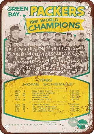 1962 Green Bay Packers Schedule Vintage Look Reproduction