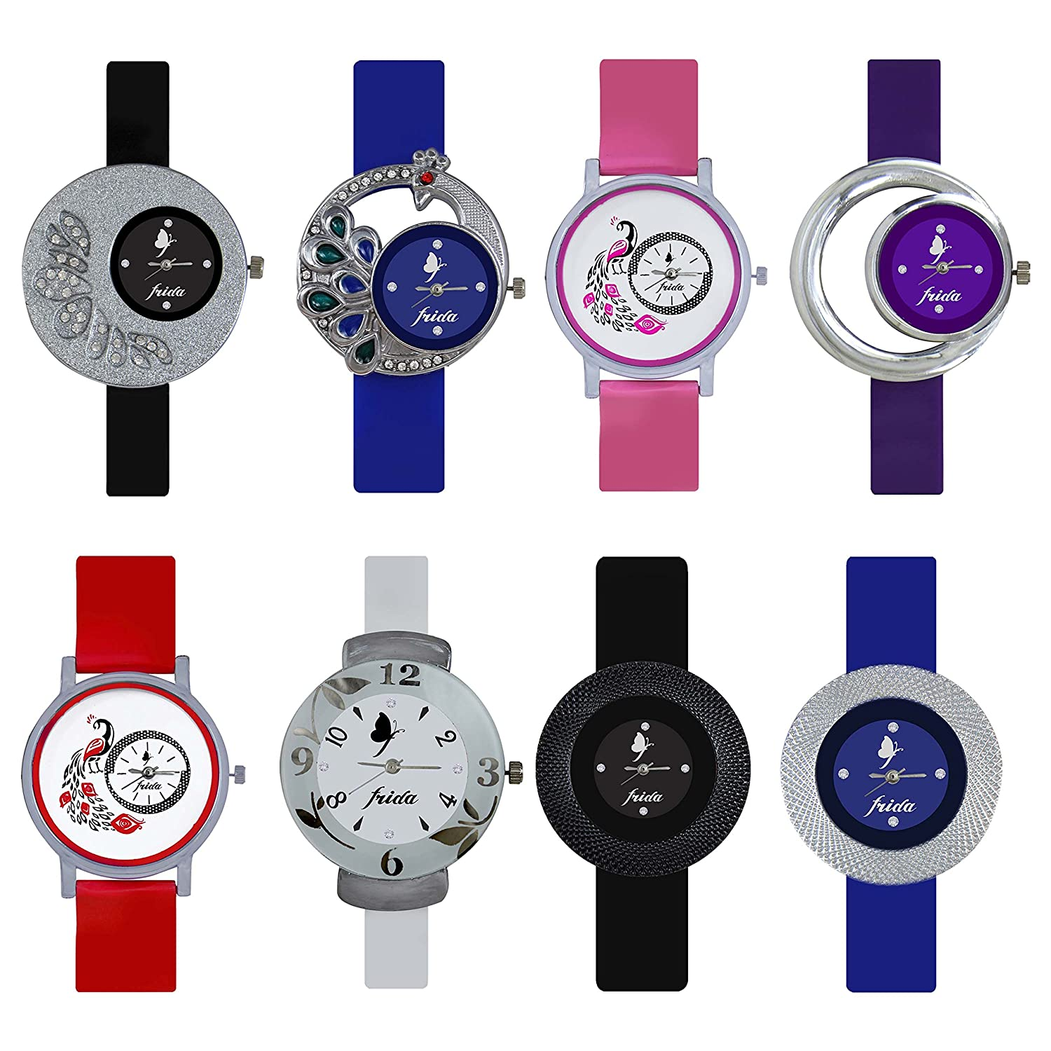 frida analogue multicolor dial womens watchcombo of 8