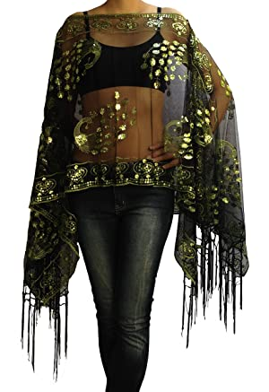 Embroidery Scarf, Caftan Dress Tops Tunic,Iridescent Green-black Fringe