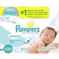 Pampers 320 Count Baby Wipes Sensitive 5X Refill