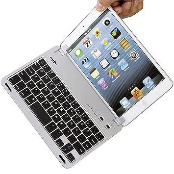 BATTOP Ultra-thin Bluetooth Keyboard Case With Stand for iPad Mini/iPad Mini 2/iPad Mini 3 Silver