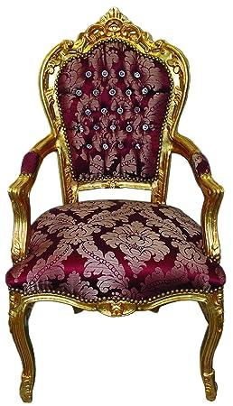 Poltrona barocco oro rosso damascato