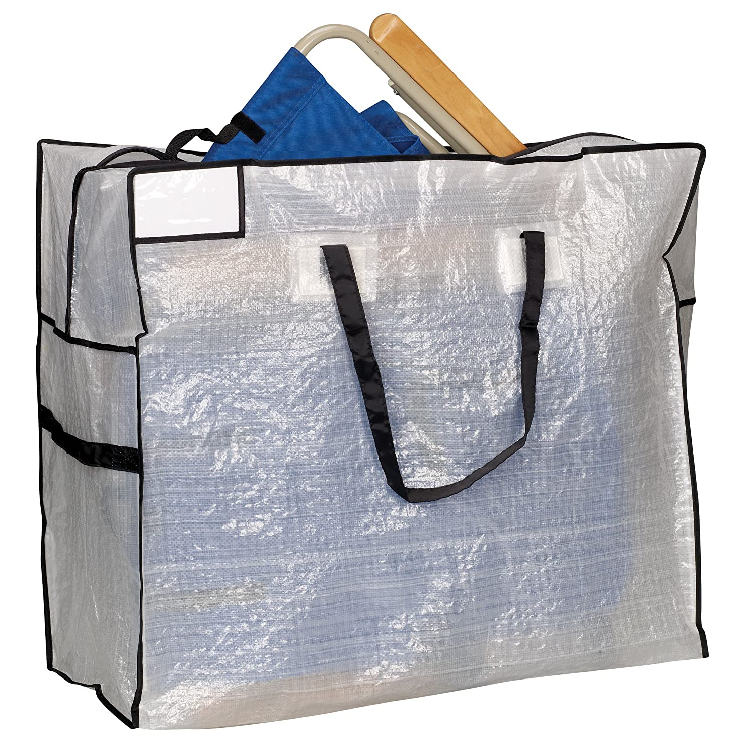 Household Essentials Large Tote Bag Clear Tarp With Black
