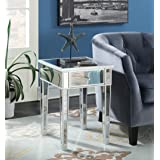 Convenience Concepts Gold Coast Mirrored End Table with Drawer, Silver / Mirror (Color: Silver / Mirror)