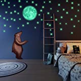 LIDERSTAR Glow in The Dark Stars Free Removable Full Moon Wall Stickers 220 adhesive Glowing Star Beautiful Wall Decals Bedroom Room,light your Ceiling, Bonus Affirmation Card Kids (Color: White)