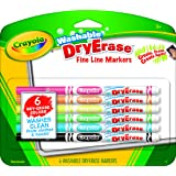 Crayola Washable Dry-Erase Fine Line Markers, 6 Classic Colors Non-Toxic Art Tools for Kids & Toddlers 3 & Up, Easy Clean Up, Won't Stain Hands or Clothes, Great for Classrooms - 98-5906 (Color: Assorted, Tamaño: 6 Pack)