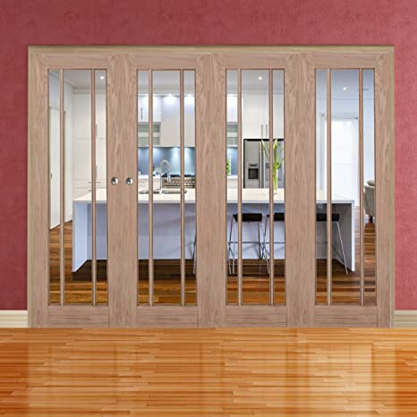 "Green Tree Doors Oak Langdale Clear Bifold System (686mm (27"") - 3 Doors)"