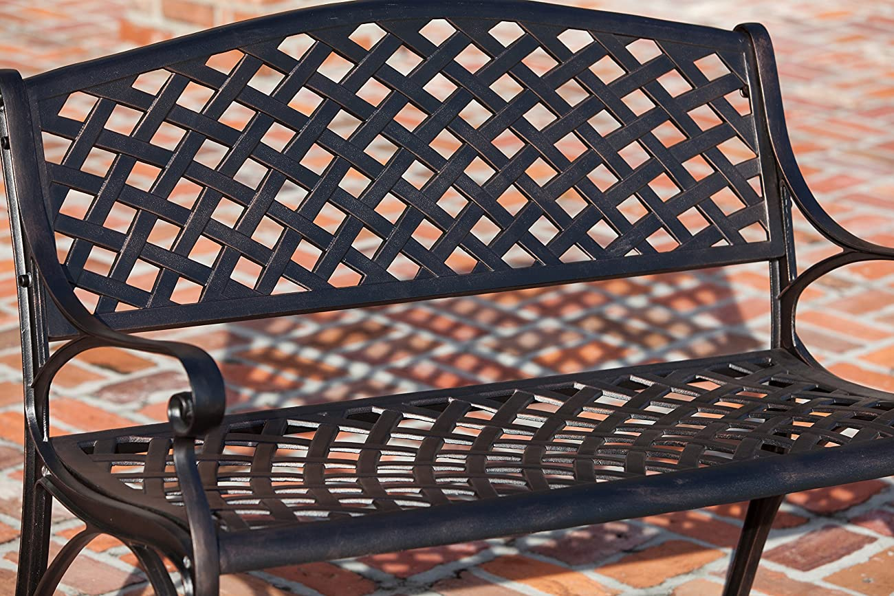 Patio Sense Antique Bronze Cast Aluminum Patio Bench 2