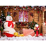 HMT 7X5ft Wood House Christmas Backdrop Snowman Backgrounds Winter Backdrop (Color: style8, Tamaño: 7X5FT)