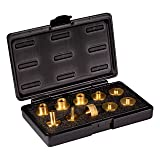 POWERTEC 71221 11-Piece Brass Router Guide Bushing Set | Pro Style Router Template Kit with Shank Bit Set and Lock Nuts