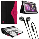Magenta Vangoddy Soho Standing Portfolio Case for Lenovo IdeaTab S6000 10.1 inch Tablet + Black Vangoddy Headphones (Color: Black)