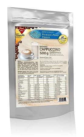 Premium Power Eiweiß Cappuccino 500 g mit L-Carnitin, Chemical Score von 155, Zink und Vitamin D